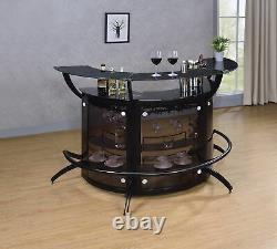 Modern Contemporary Black 2-Shelf Curved Bar Wine Cabinet Table With Glass Top