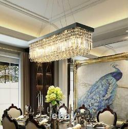 Modern K9 Crystal Rectangle Ceiling Light Home Chandelier Pendant 60/80cm