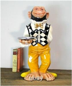 Monkey Butler Ape Statue w Silver Tray Suit Bow Tie for Bar Kitchen 2 Foot