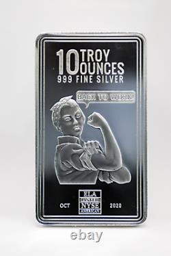 New 10 oz Envela 0.999 Silver Bar Rosie the Riveter Stamped Oct 2020 Edition