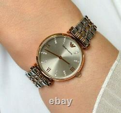 New Emporio Armani Ar1840 Two Tone Gianni T-bar Stainless Steel Ladies Watch