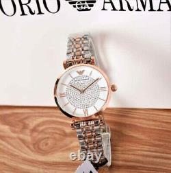 New Genuine Emporio Armani Ar1926 Gianni T-bar Rose Two Tone Womens Watch Uk