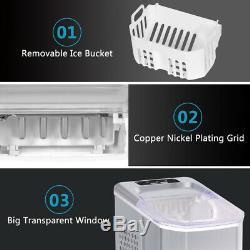New Ice Maker Portable Countertop Compact Machine 26lbs Per Day Shop Bar Silver