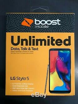 New LG Stylo 5 LG720PSABB 32GB ROM / 3GB RAM Silver Boost Mobile ONLY