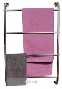 Over The Door 4 Tier Chrome Wall Mount Towel Rail Rack Hanger Bars W Fittings