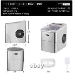 Portable Ice Maker Stainless Steel Bar Restaurant Ice Cube Machine 26lbs Silver