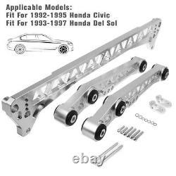 Rear Lower Control Arm Subframe Brace Tie Bar For 92-95 Honda Civic EG Silver