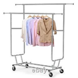Rolling Adjustable Clothes Rack Double Bar Rail Garment Garment Rack Heavy Duty