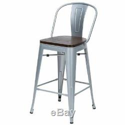 Set of 4 Metal Bar Stools 26 Bar Chairs Counter Height High Back Wooden Silver