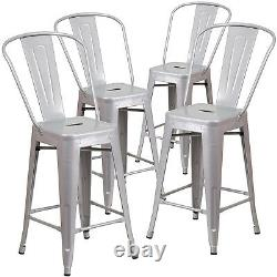 Set of (4pc) Modern Counter Height Style Stools with Back 24-inch Seat Bar Silver