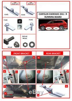 Side Steps Running Boards Nerf Bars Alu. Set Fits Jeep Grand Cherokee 2011-2020