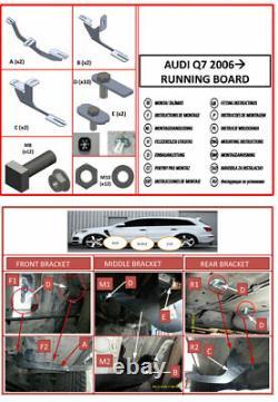 Side Steps Running Boards Nerf Bars Aluminum 2 Pcs. Fits Audi Q7 4L 2007-2015
