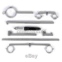 Stainless Steel frame Spreader Bar Hand Ankle Collar Cuffs Bondage Heavy Duty