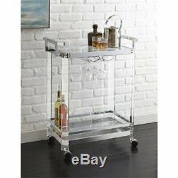Steve Silver Aerin Acrylic Bar Cart in Chrome