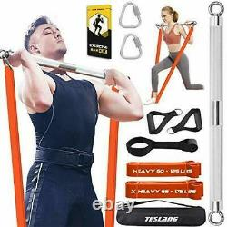 TESLANG Resistance Band Bar, Heavy Resistance Bands with Bar for Men, 500 LBS St