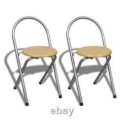 VidaXL Kitchen Dining Table Set 2 Chairs Shelves Breakfast Bar Folding Stand